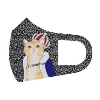 ダマスク柄 王冠猫マスク Full Graphic Mask