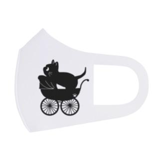 ベビーカーに乗った黒猫 Full Graphic Mask