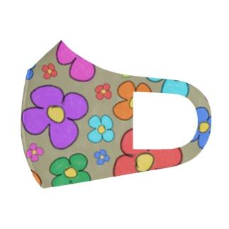 クレヨンらくがき花柄 Full Graphic Mask