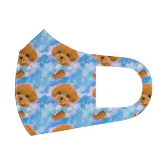 かわいいトイプードルの子犬と夢かわいい雲のイラスト Full Graphic Mask