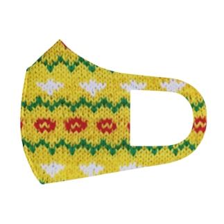 黄色とお花の編みもの Full Graphic Mask
