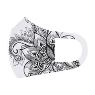 【ゼンタングルシリーズ・花】 Full Graphic Mask