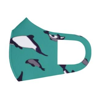 イロワケイルカおやこ柄 Full Graphic Mask