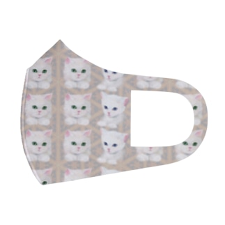 かわいい白猫と北欧風パターンイラスト Full Graphic Mask