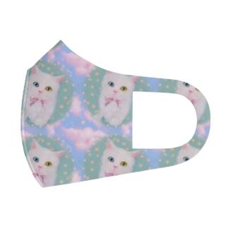 かわいいオッドアイの白い子猫と青空のイラスト Full Graphic Mask