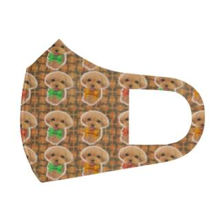 にっこり笑ったトイプードルとチェック柄のパターン Full Graphic Mask