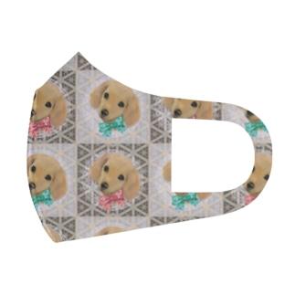 かわいいダックスフントの子犬とチェック柄のパターン Full Graphic Mask