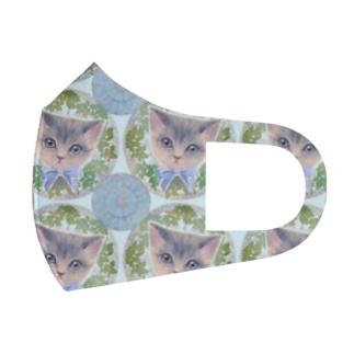 リボンをつけた子猫とアール・ヌーヴォー風レリーフのイラスト Full Graphic Mask