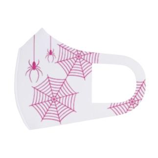 イラストレーターみやもとかずみのオリジナルグッズ通販 ∞ SUZURI(スズリ)のお洒落なピンクスパイダーと蜘蛛の巣 Full Graphic Mask