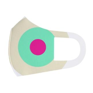 サークルa・クリーム・ペパーミント・ショッキングピンク2 Full Graphic Mask