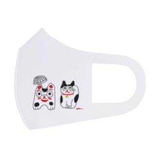 籠犬と招き猫 Full Graphic Mask