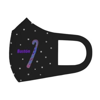 フラメンコ ベラーノ 黒とネズミ色の水玉とカスタネットとバストン Full Graphic Mask