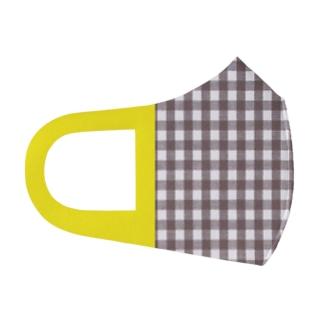 ギンガムチェック茶/黄色耳 Full Graphic Mask