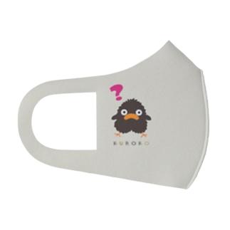 くろこ(こげ茶なヒヨコ)はてな 背景カーキ Full Graphic Mask