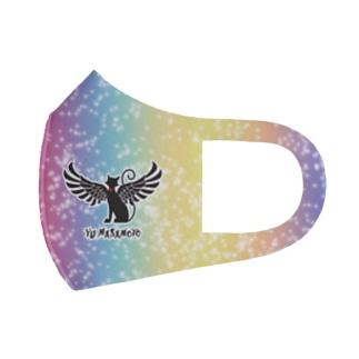 Màau Music.貓音樂 マウミュージックネコショップの貓羽ちゃんcloth mask レインボー Full Graphic Mask