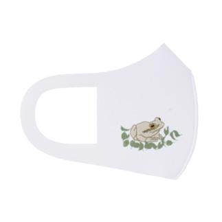 isay-t(文鳥/雀/sparrow/野鳥/カエル/frog/蛙/爬虫類/カメ/キンカチョウなど)の白いカエルと葉っぱ Full Graphic Mask