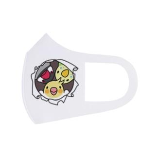 なかよしインコ【まめるりはことり】 Full Graphic Mask