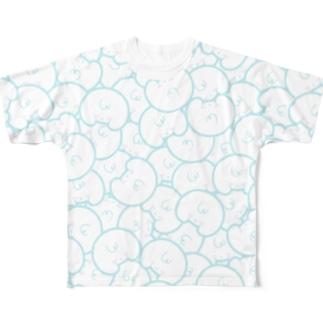 「オシリかカオかちゃん」 総柄 ブルー襟白 Full graphic T-shirts