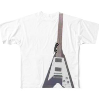 ネコトヴイギタア - cat and v guitar Full graphic T-shirts