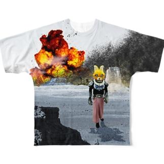 スペースキャットC「だいばくはつ」 Full graphic T-shirts