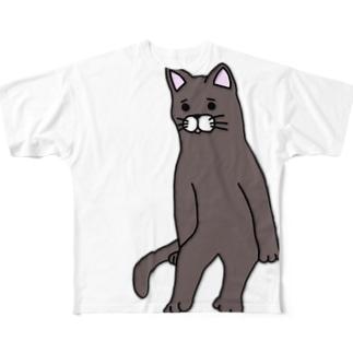 座りネコ Full graphic T-shirts