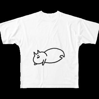 豆腐[ 'ω' ]のだれるてぐせねこ Full graphic T-shirts