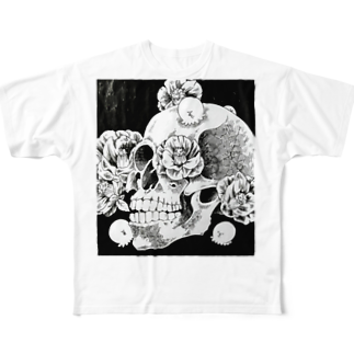 MACLO's Shopの骸骨とたこ Full graphic T-shirts