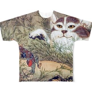 河鍋暁斎『 化け猫 』 Full graphic T-shirts