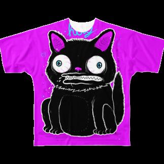 HUGオフォシャルショップのBlack Cat Takes Good Luck フルグラフィックTシャツ