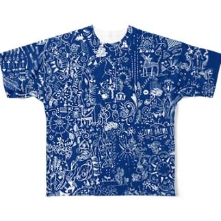 思い巡り-Tシャツ-青 フルグラフィックTシャツ