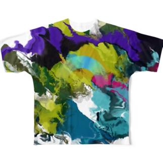 渋色マーブル Full graphic T-shirts