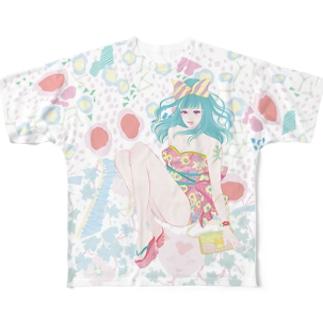 響子ちゃんと柄模様 Full graphic T-shirts