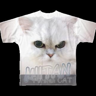ドローラインのペルシャ猫TシャツフルグラフィックTシャツ