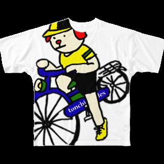 とんちピクルスのウクちゃんと自転車 Full graphic T-shirts