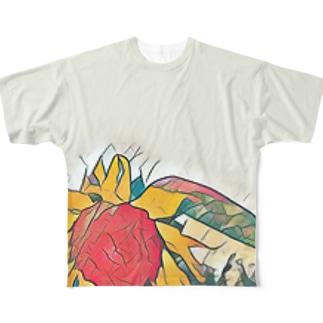 花 フルグラフィックTシャツ