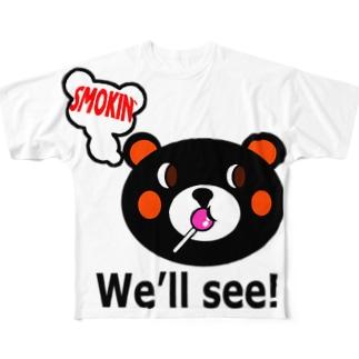 モクモックマ飴ちゃんフェイス 黒 Full graphic T-shirts