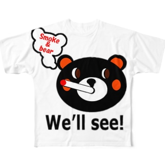 モクモックマ・フェイス 黒 Full graphic T-shirts