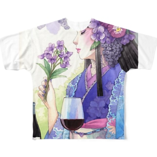 ワイン女子・スミレルージュ フルグラフィックTシャツ