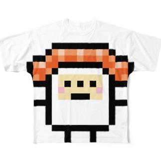PixelArt スシスッキー サーモン フルグラフィックTシャツ