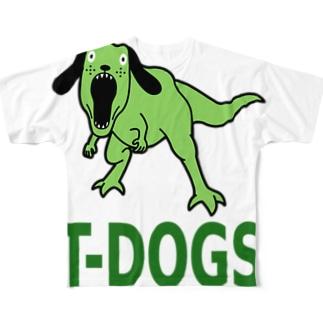 恐竜犬 フルグラフィックTシャツ