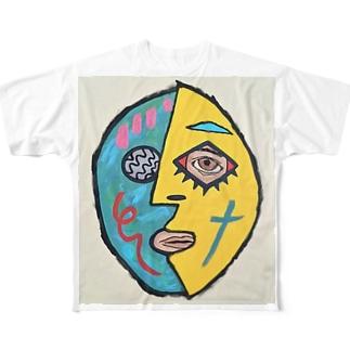 ピカソマスクマン Full graphic T-shirts