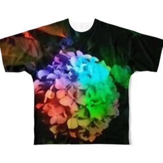 「レインボー紫陽花」 Full graphic T-shirts