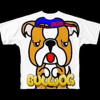 オリジナルデザインTシャツ SMOKIN'のちんちんブルドッグ Full graphic T-shirts