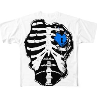 肋骨×南京錠(ブルー) Full graphic T-shirts