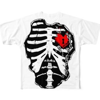 肋骨×南京錠(レッド) フルグラフィックTシャツ