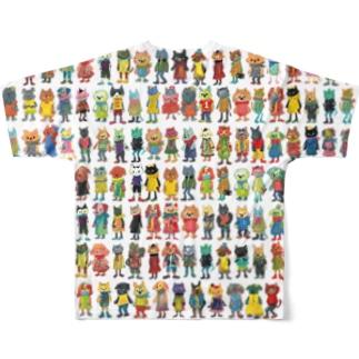 ねこびとわんこびと Full graphic T-shirts