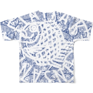 (↑背面)TAIYAKI INSANITY ver.2 ネイビー Full graphic T-shirts