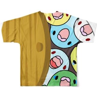三密です!むちむちマメルリハさん【まめるりはことり】 Full graphic T-shirts