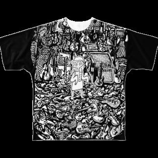 ガラガラムーチョロの石のあけたらしろめ「STARS」フルグラフィックTシャツ
