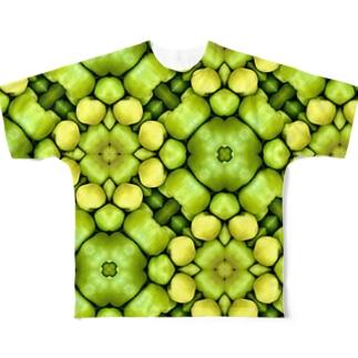 ビタミン摂取の為に食べる、グリーンアップル Full graphic T-shirts